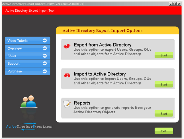 Active Directory Export Import Utility